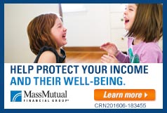 "Two children laughing with overlay tagline ""Help Protect Your Income And Their Well-Being"""